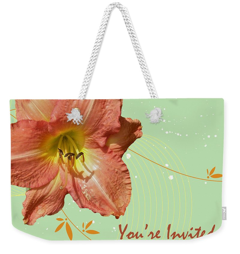 Invitation Weekender Tote Bag featuring the photograph Party Invitation - Orange Day Lily by Mother Nature