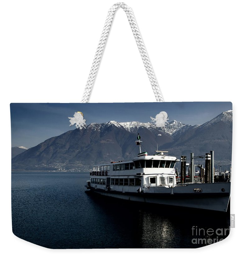 Ship Weekender Tote Bag featuring the photograph Passenger Ship On The Lake by Mats Silvan