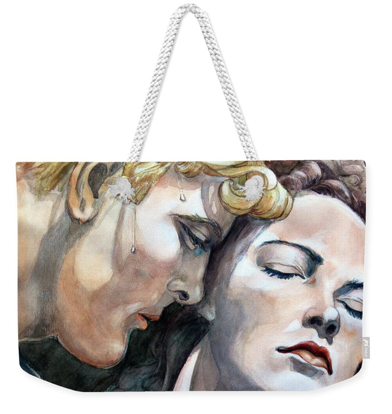 Watercolor Painting By Otto Werner Weekender Tote Bag featuring the painting Passionate Embrace by Hanne Lore Koehler