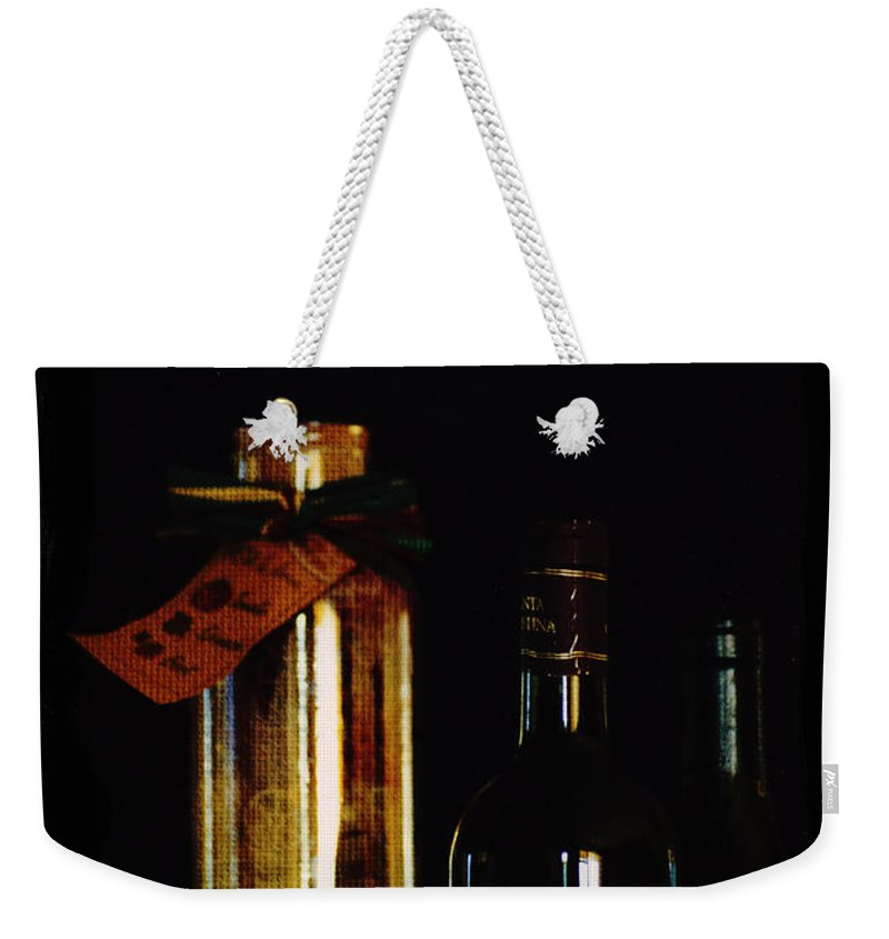 Pasta Weekender Tote Bag featuring the painting Pasta And Wine by Tom Luca