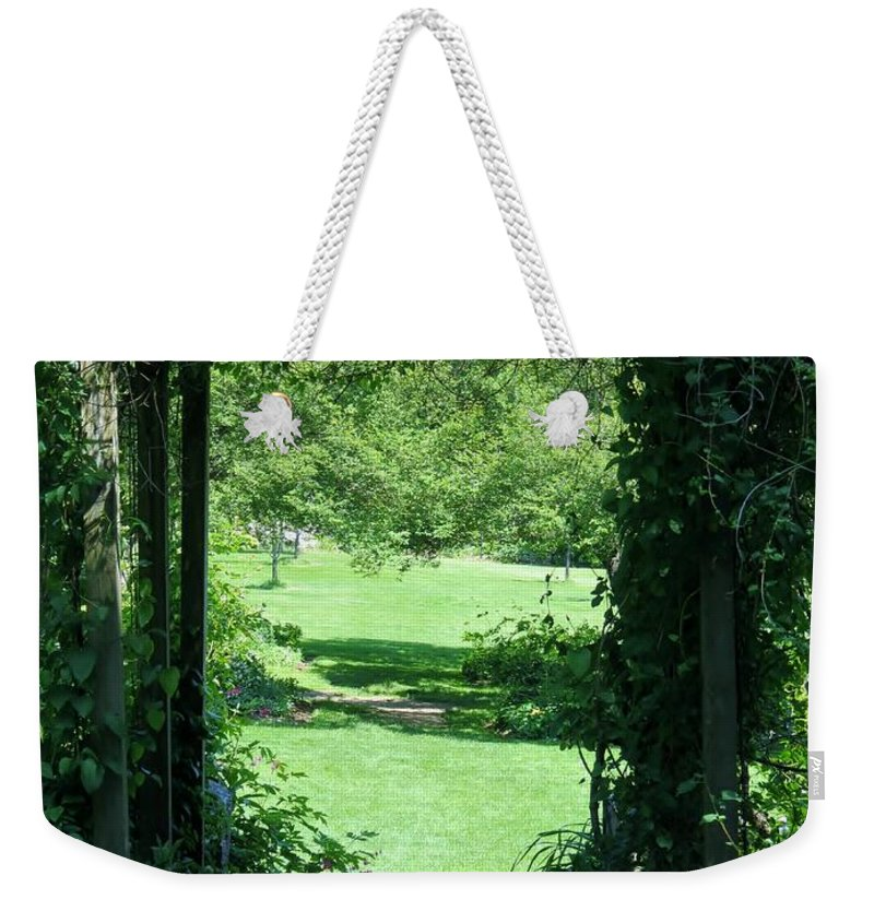 Garden Weekender Tote Bag featuring the photograph Path To The Green by Art Dingo
