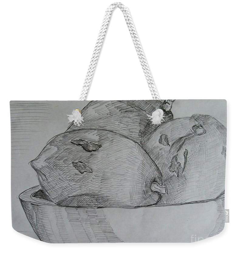 Fruit Weekender Tote Bag featuring the drawing Paw-paw In Wooden Bowl by Caroline Street