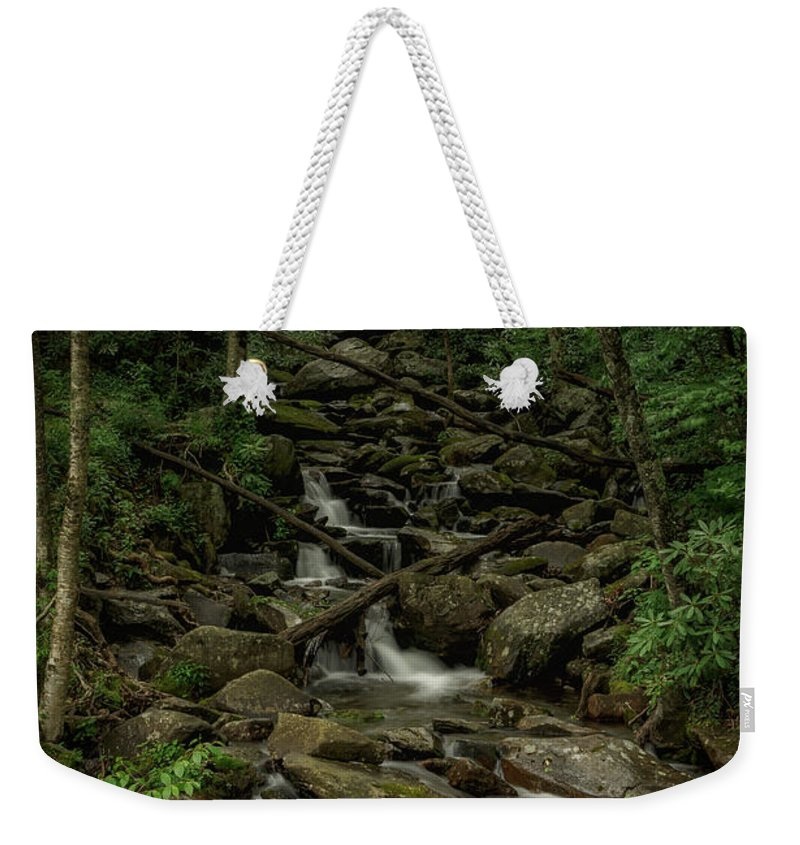 Great Smoky Mountains National Park Weekender Tote Bag featuring the photograph Peaceful Cascade by Charlie Choc