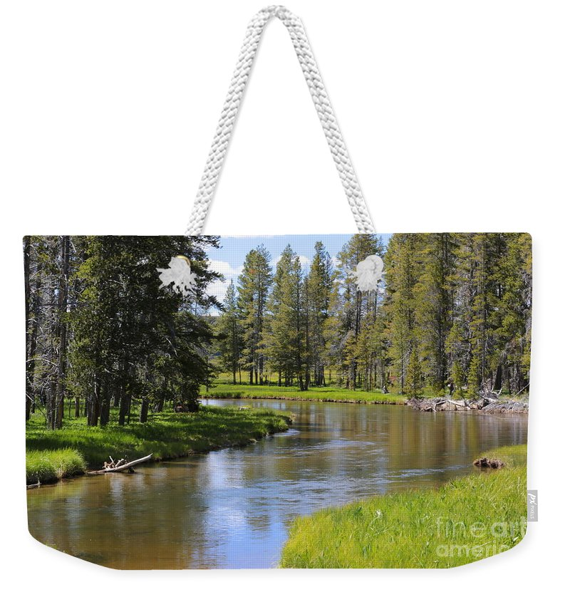 Mountain Stream Weekender Tote Bag featuring the photograph Peaceful Mountain Stream by Carol Groenen