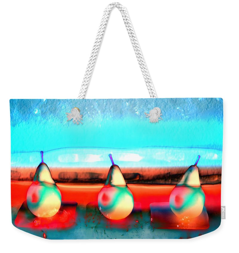 Still Life Weekender Tote Bag featuring the photograph Pears On Ice 03 by Carol Leigh