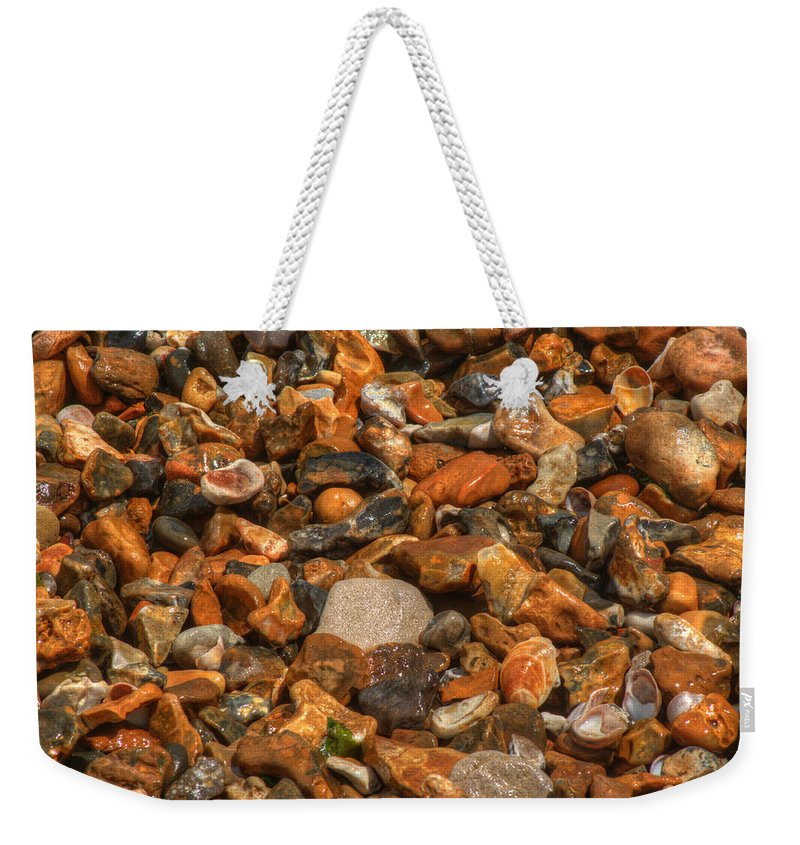 Pebbles Weekender Tote Bag featuring the photograph Pebbles And Stones On The Beach by Chris Day