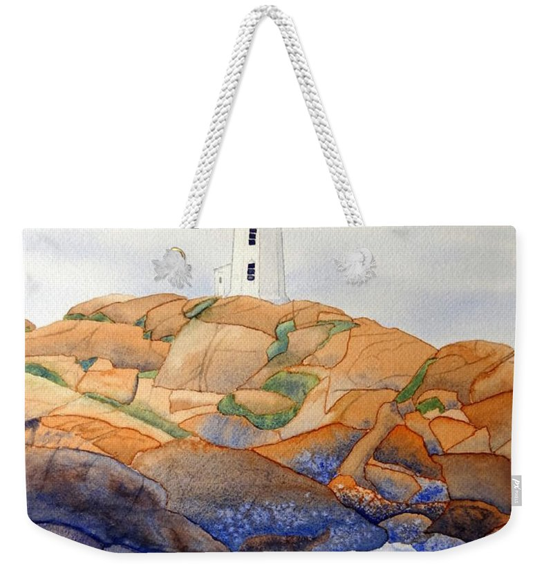 Peggy's Cove Weekender Tote Bag featuring the painting Peggy's Cove by Laurel Best