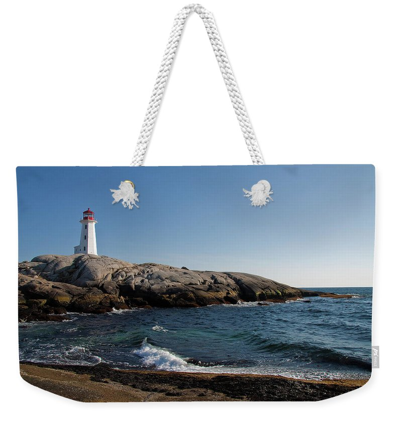 Lighthouse Weekender Tote Bag featuring the photograph Peggy's Cove Light by Bill Lindsay