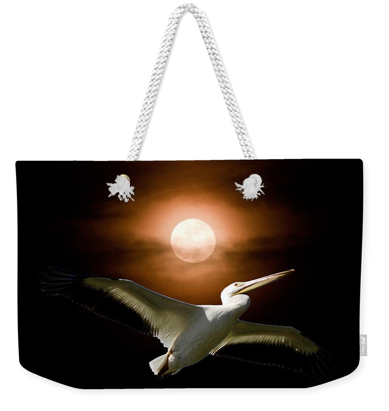 Harvest Moon Photos Weekender Tote Bag featuring the photograph Pelican Moon by Randall Branham