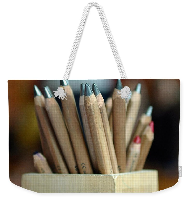 Pencils Weekender Tote Bag featuring the photograph Pencils by Lisa Phillips