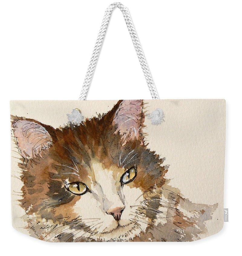 Cat Weekender Tote Bag featuring the painting Pensive by Lynn Presland