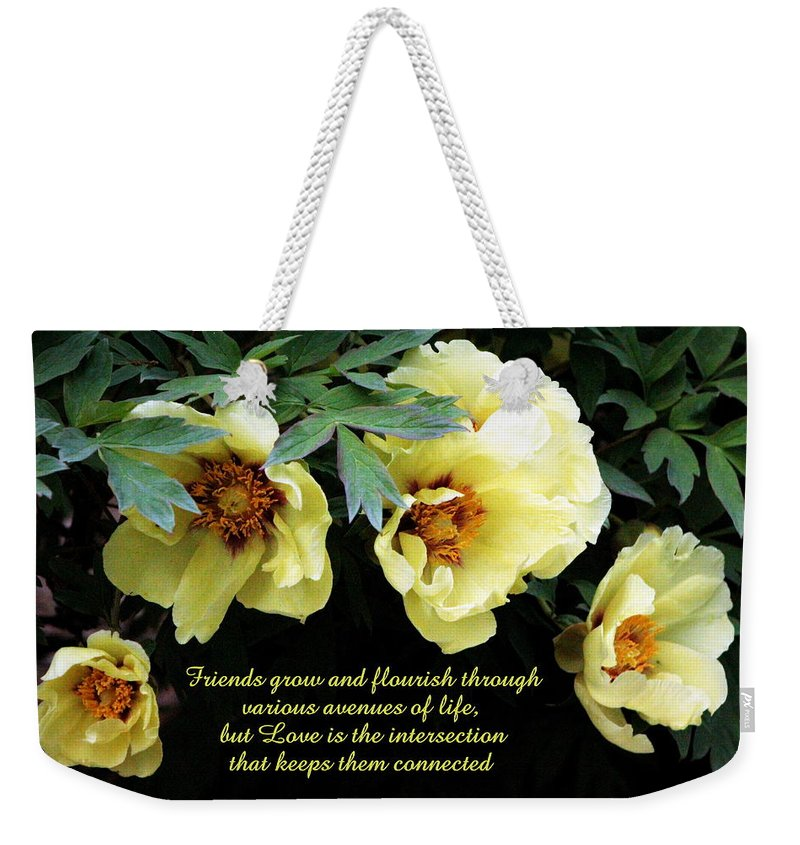 Card Weekender Tote Bag featuring the photograph Peony Friends by Deborah Crew-Johnson