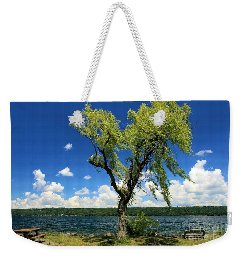 Taughannock Falls State Park Weekender Tote Bag featuring the photograph Perfect Picnic Spot by Adam Jewell