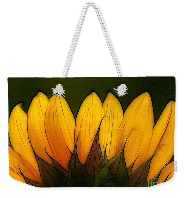Sunflower Weekender Tote Bag featuring the digital art Petales De Soleil - A12 by Variance Collections