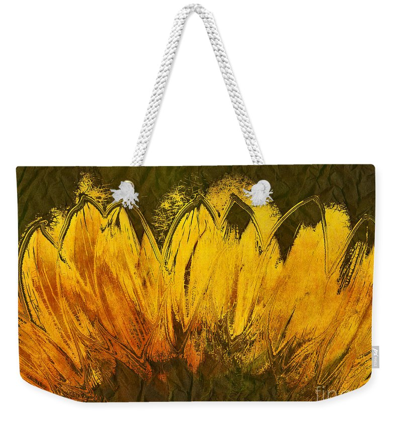 Sunflower Weekender Tote Bag featuring the digital art Petales De Soleil - A43t02b by Variance Collections