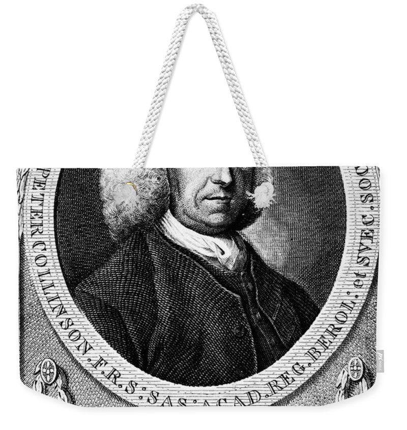 18th Century Weekender Tote Bag featuring the photograph Peter Collinson (1694-1768) by Granger
