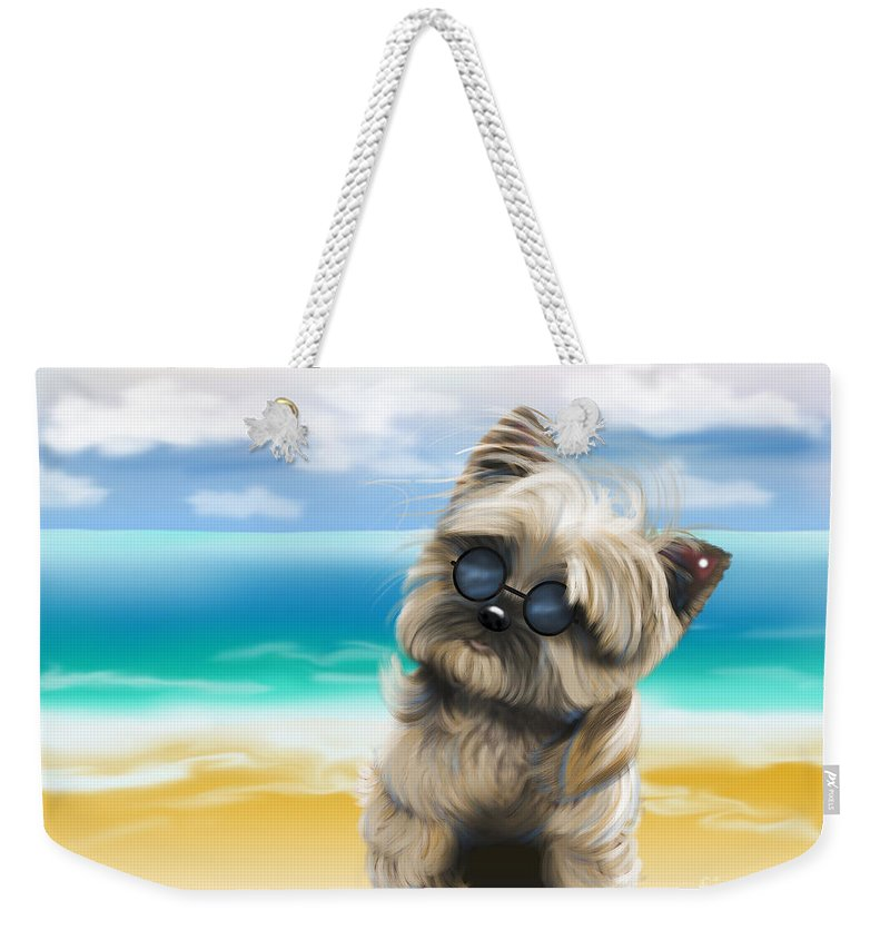 Petey Weekender Tote Bag featuring the mixed media Petey In Coney Island by Catia Lee