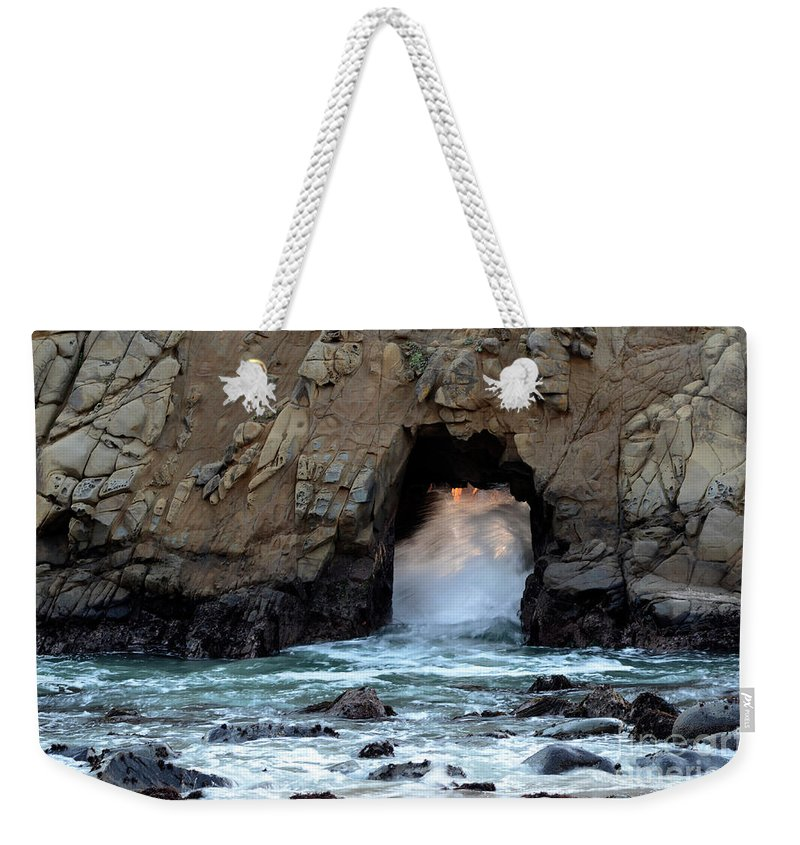 Pfeiffer Rock Weekender Tote Bag featuring the photograph Pfeiffer Rock Big Sur 2 by Bob Christopher