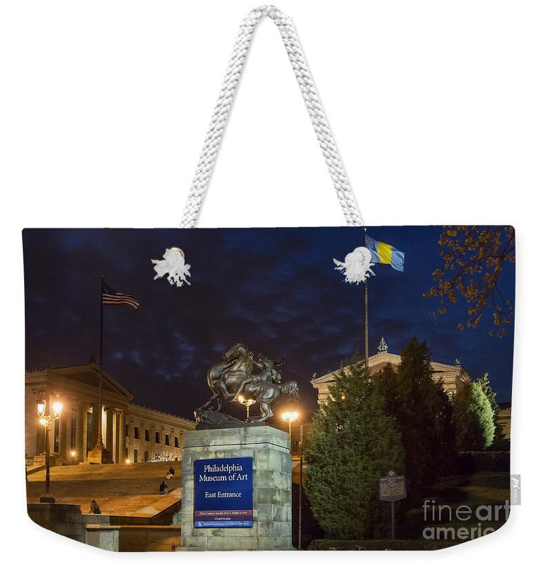 Art Museum Circle Weekender Tote Bag featuring the photograph Philadelphia Museum Of Art by John Greim