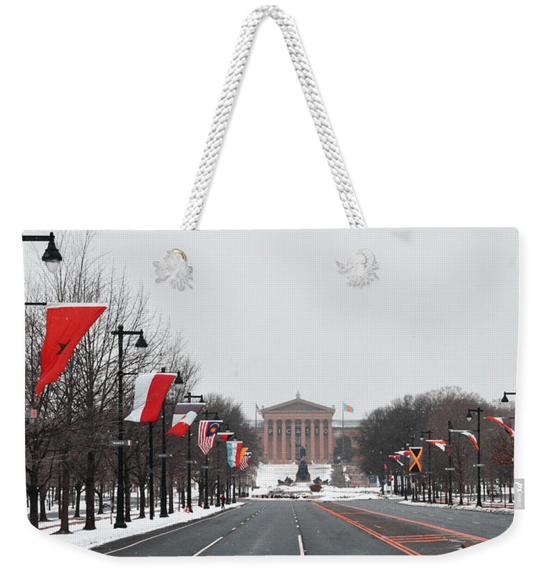 Philadelphia Parkway In The Snow Weekender Tote Bag featuring the photograph Philadelphia Parkway In The Snow by Bill Cannon