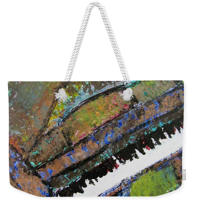 Music Weekender Tote Bag featuring the painting Piano Aqua Wall - Cropped by Anita Burgermeister