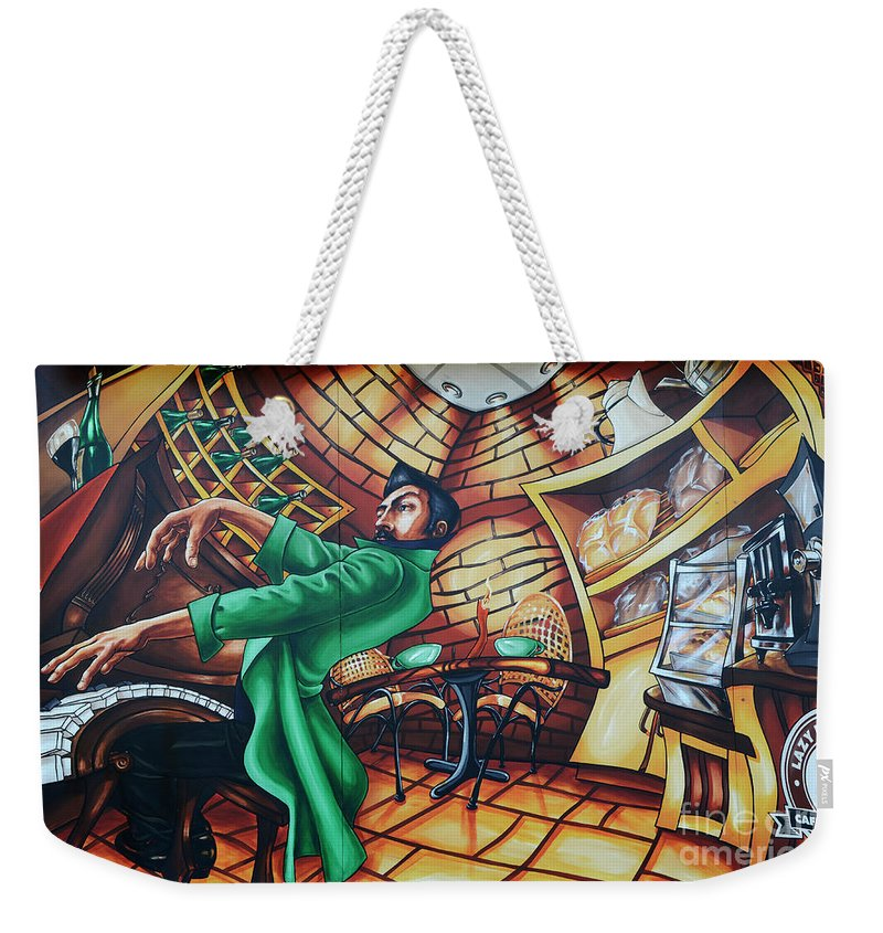 Graffiti Weekender Tote Bag featuring the photograph Piano Man 2 by Bob Christopher