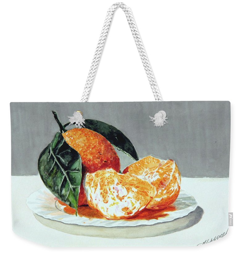 Still Life Weekender Tote Bag featuring the painting Piatto Con Arance by Giovanni Marco Sassu