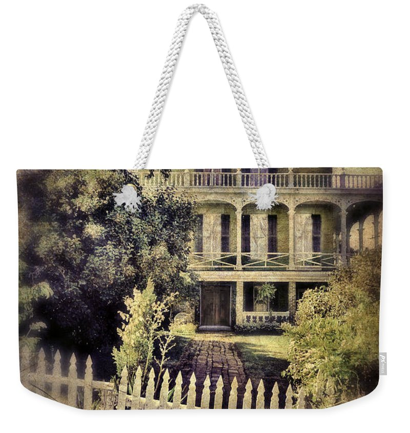 Fence Weekender Tote Bag featuring the photograph Picket Gate To Large House by Jill Battaglia