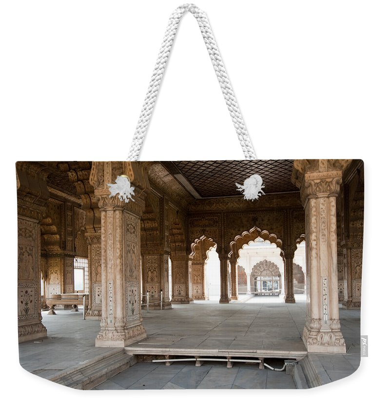 Monument Weekender Tote Bag featuring the photograph Pillars Of Building Inside Red Fort by Ashish Agarwal