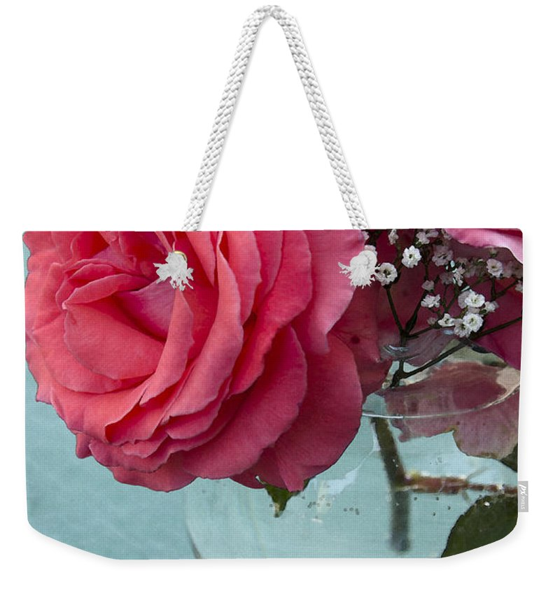 Rose Weekender Tote Bag featuring the photograph Pink And Aqua Roses by Jim And Emily Bush