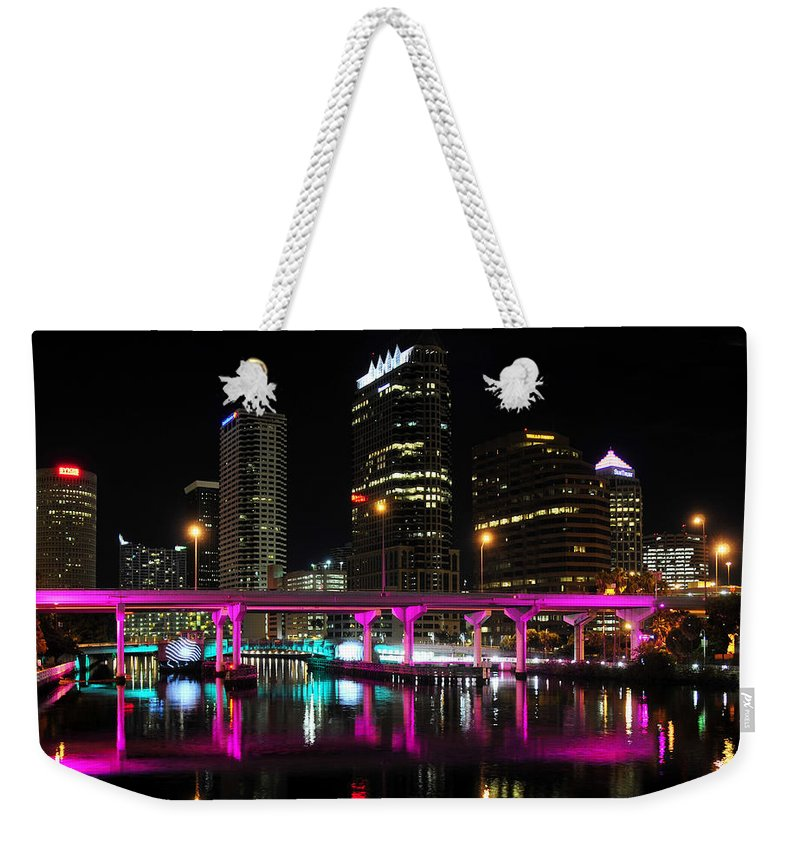 Tampa Bay Florida Weekender Tote Bag featuring the photograph Pink Bridge by David Lee Thompson
