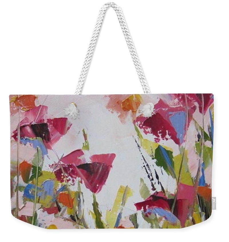 Wild Flowers Weekender Tote Bag featuring the painting Pink Buds by Yvonne Ankerman