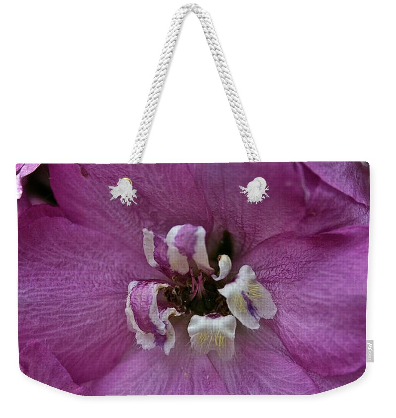 Outdoors Weekender Tote Bag featuring the photograph Pink Delphinium by Susan Herber