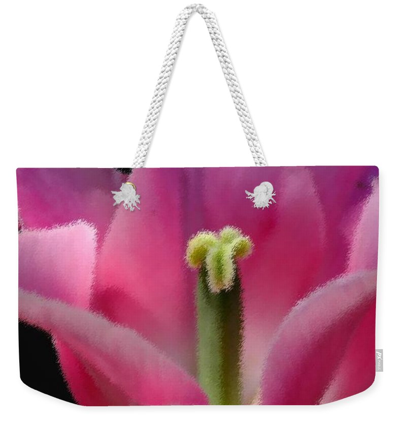 Digital Designs Weekender Tote Bag featuring the photograph Pink Flower by Mark Gilman