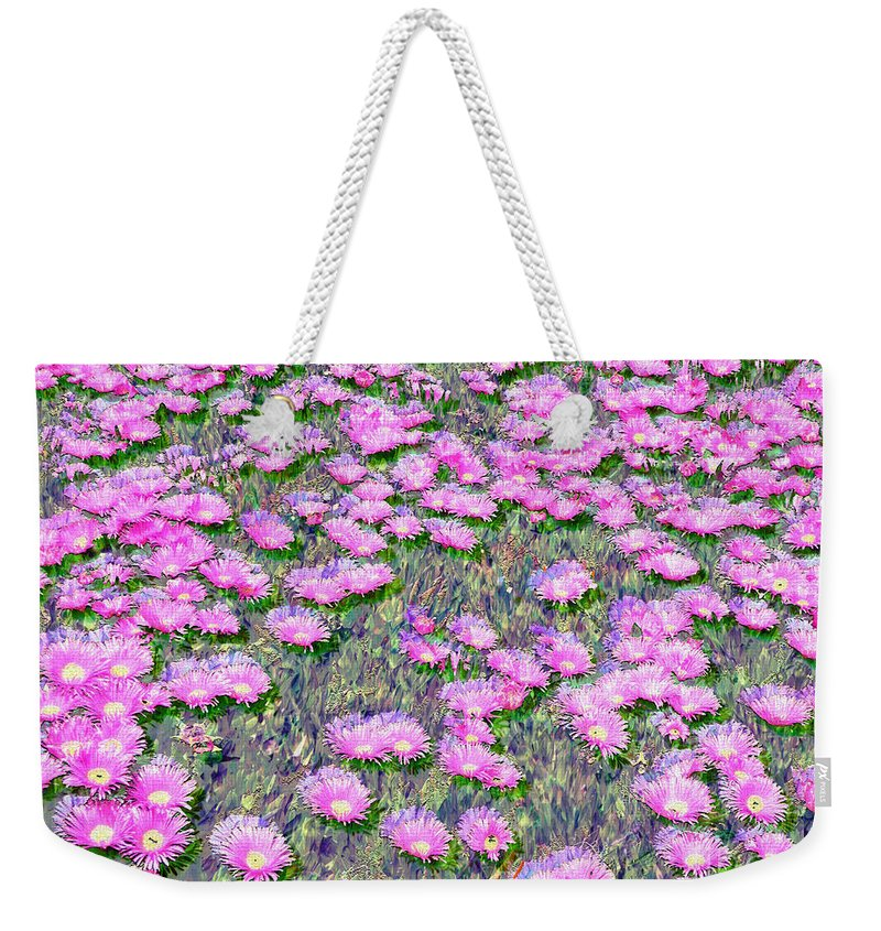 Pink Ice Plant Flowers Digital Painting Weekender Tote Bag featuring the photograph Pink Ice Plant Flowers by Afroditi Katsikis