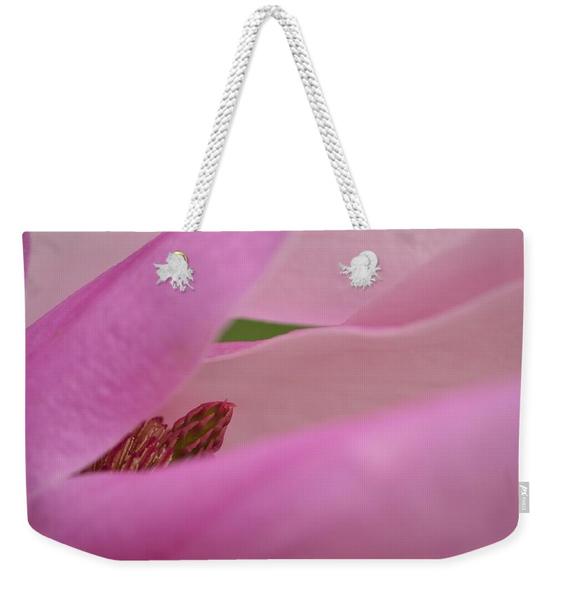 J.d. Grimes Weekender Tote Bag featuring the photograph Pink Magnolia by JD Grimes