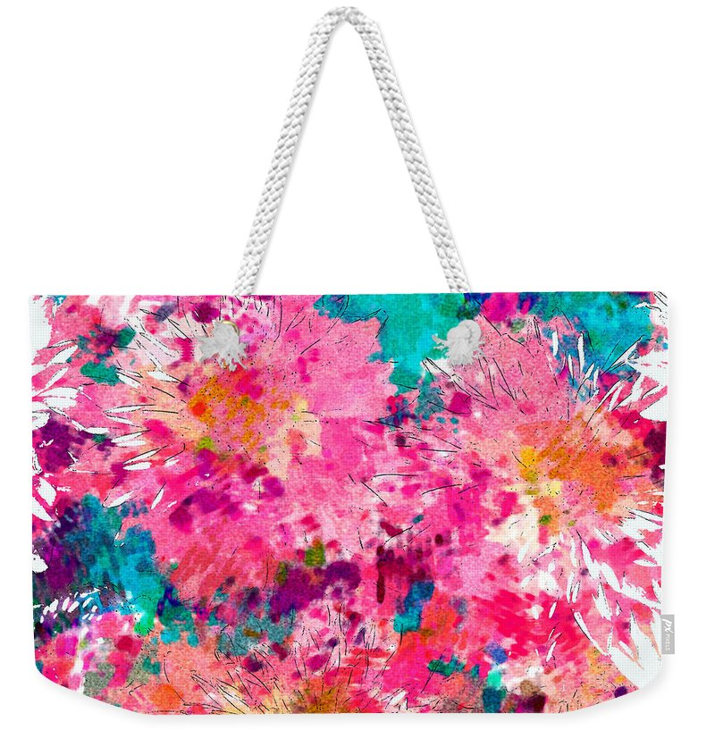 Mum Weekender Tote Bag featuring the photograph Pink Mums by Vicki Podesta