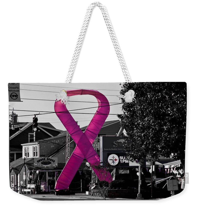 Pink Weekender Tote Bag featuring the photograph Pink Ribbon For Breast Cancer Awareness by Trish Tritz