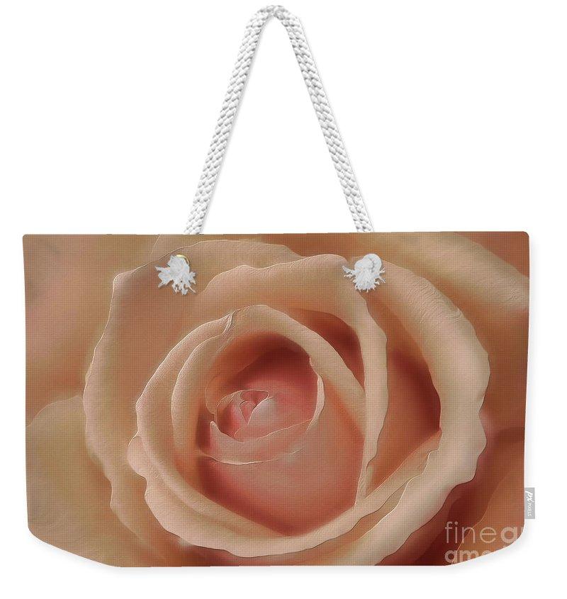 Rose Weekender Tote Bag featuring the photograph Pink Sensual Rose by Deborah Benoit