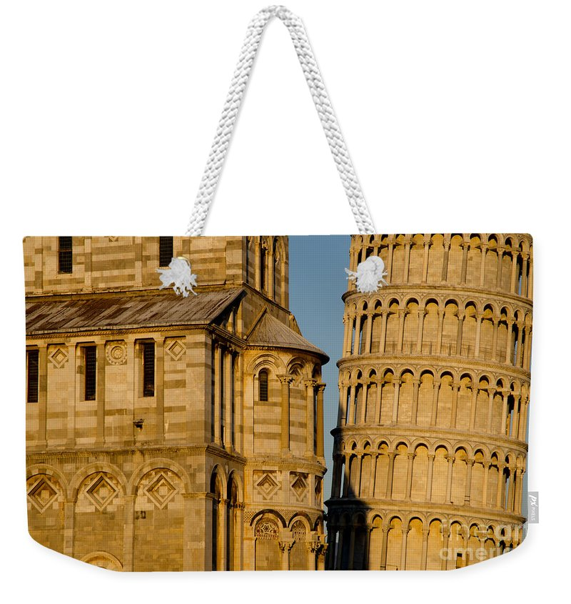 Pisa Weekender Tote Bag featuring the photograph Pisa Tower And Cathedral by Mats Silvan