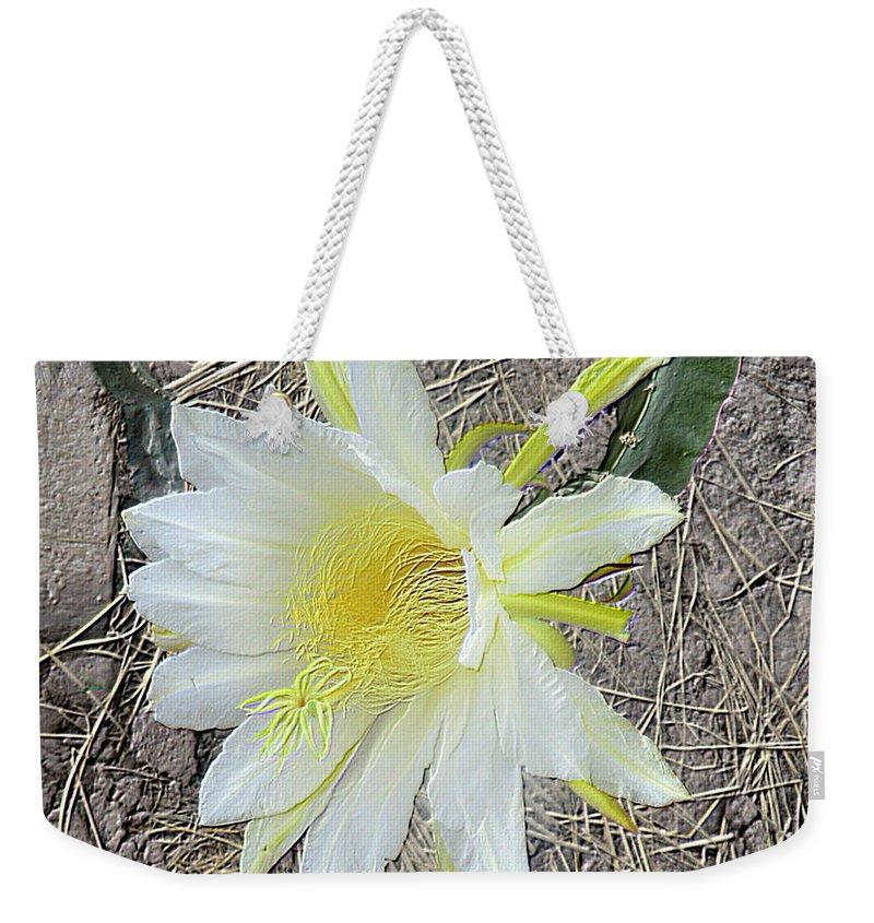 Pitaya Flower Weekender Tote Bag featuring the digital art Pitaya Flower by Jeelan Clark