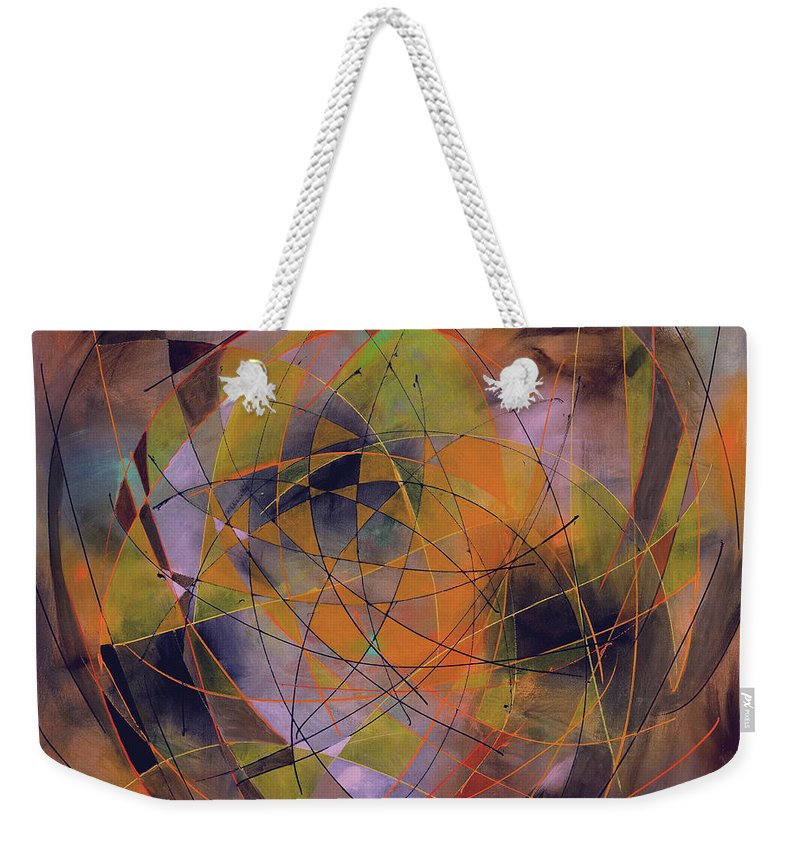 Abstract Weekender Tote Bag featuring the painting Planet Perspectives by Lynne Taetzsch
