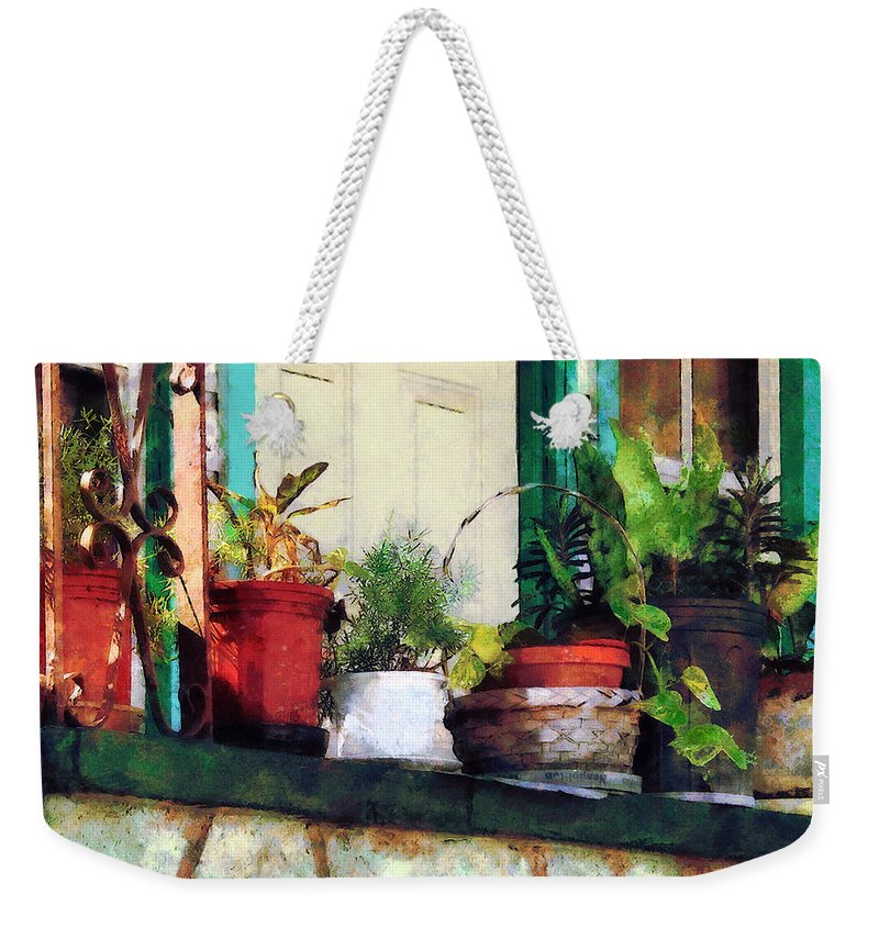 Plant Weekender Tote Bag featuring the photograph Plants On Porch by Susan Savad