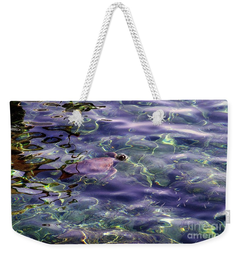 Sea Turtle Weekender Tote Bag featuring the photograph playing at Crete by Casper Cammeraat