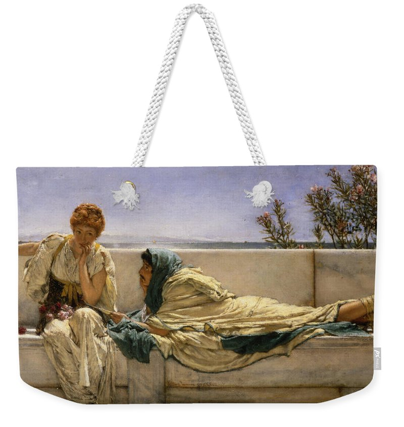 Pleading Weekender Tote Bag featuring the painting Pleading by Sir Lawrence Alma-Tadema