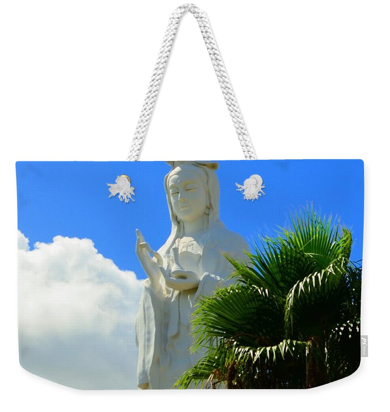 Buddhist Weekender Tote Bag featuring the photograph Please No Pigeons Today by David Morefield