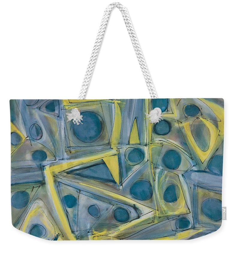 Non-objective Weekender Tote Bag featuring the painting Point And Click by Lynne Taetzsch