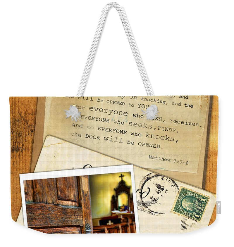 Weathered Weekender Tote Bag featuring the photograph Polaroid Of Open Door To Church With A Bible Verse by Jill Battaglia