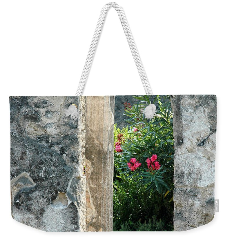 Pompeii Weekender Tote Bag featuring the photograph Pompii Columns 1 Pompeii Italy by Mike Nellums