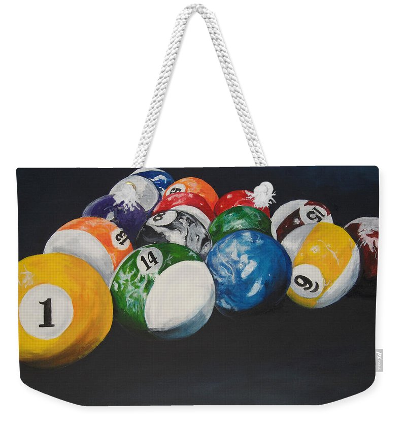 Pool Balls Weekender Tote Bag featuring the painting Pool Balls by Travis Day
